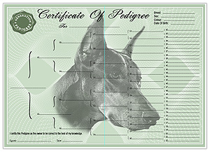 Dobermann Pinscher Pedigree Certificates
