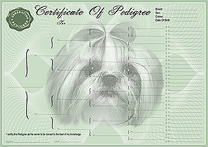 Lhasa Apso Pedigree Certificates